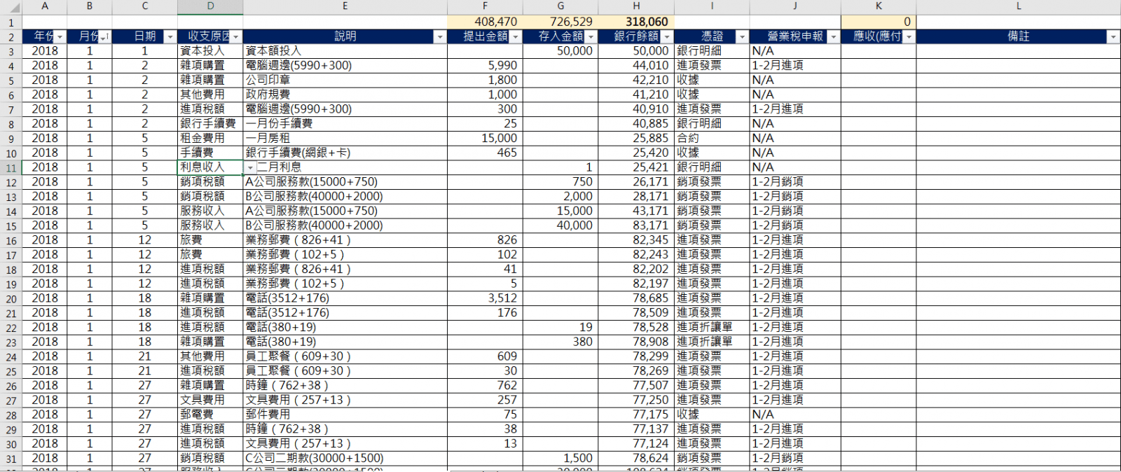 | Excel記帳模板 | 簡易記帳模板免費給你!小型企業現金流記帳模板